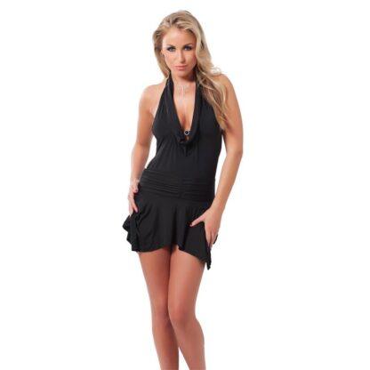vestido mini negro espalda abierta